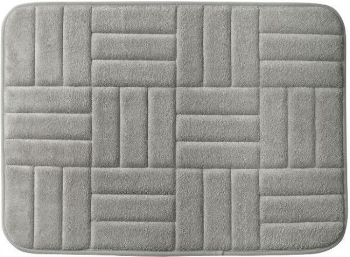 Microfiber And Memory Foam Pewter Anti Fatigue Bath Rug With Non