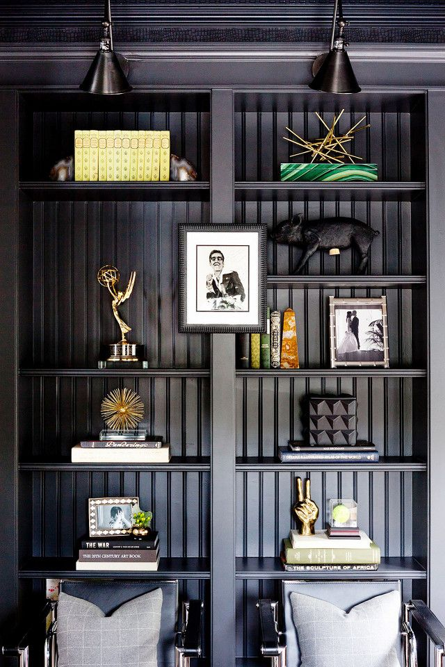 Moody Home Library With Matte Black Painted Bookshelves Black Sconces And Agate Decor Details
