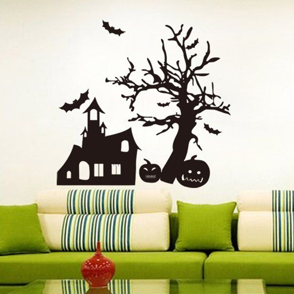 Pumpkin and Spook House Pattern Halloween Room Wall Sticker #hats, #watches, #belts, #fashion, #style