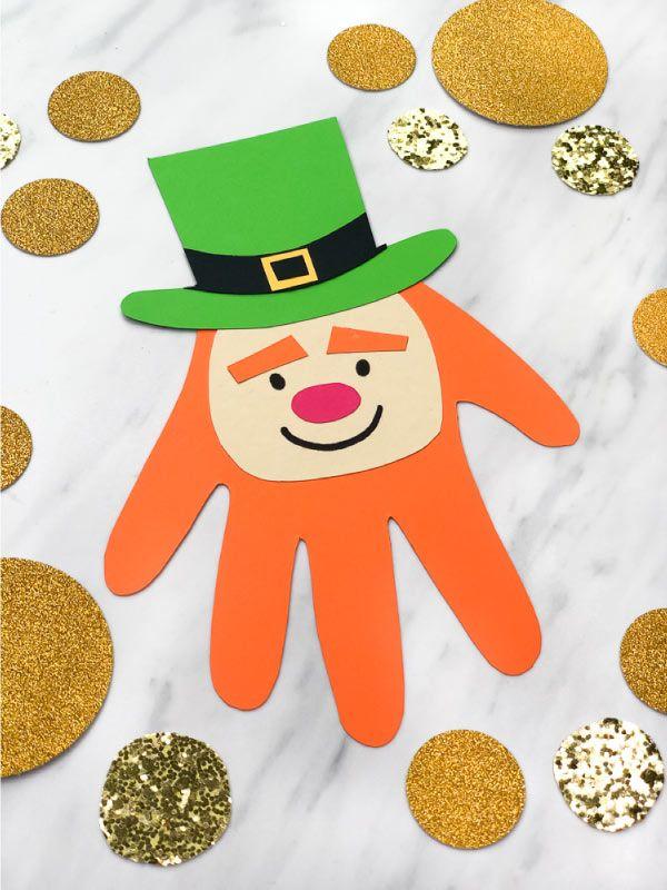 Easy Leprechaun Handprint Craft St Patricks Day Crafts For Kids