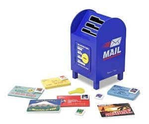 Melissa & Doug Stamp and Sort Mailbox by Melissa & Doug. $23.32. Exceptional quality and value. Contains 6 letters and 6 removable stamps. Open the door with the wooden key for special delivery. Enjoy the thrill of receiving personal mail every day. Sort the mail into the mailbox. From the Manufacturer                Enjoy the thrill of receiving personal mail every day with this wooden mailbox activity set. With 6 letters and 6 removable stamps, it's fun to sort the...
