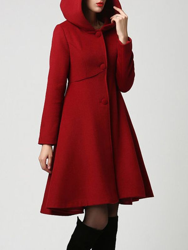 rot taschen langarm elegant wollmantel mit kapuze damen