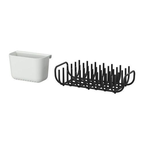 IKEA - BOHOLMEN, Égouttoir à vaisselle, Accrochez le range-couverts sur l'égouttoir ou sur le rail GRUNDTAL.
