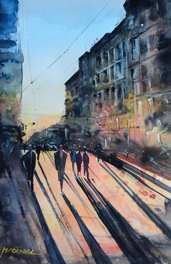 Sunny day Bucharest Old Town original watercolor painting 21*29 cm  200gr cold press good quality watercolor paper The color will not fade over time  2017 original work. This Artwork is hand signed and dated. The artwork is not on sale with the frame