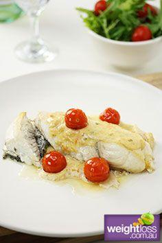 Atkins Diet Recipes: Grilled Fish with Creamy Lemon & Basil Sauce Recipe. #HealthyRecipes #DietRecipes #WeightLoss #WeightlossRecipes weightloss.com.au
