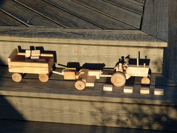 Waldorf Toys tracteur avec Wagon de balles de par OutOnALimbADK