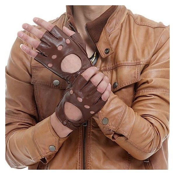 Brown Medium Men Genuine lambskin Leather fingerless driving unlined... ❤ liked on Polyvore featuring men's fashion, men's accessories, men's gloves, mens gloves, mens fingerless gloves and mens brown leather gloves
