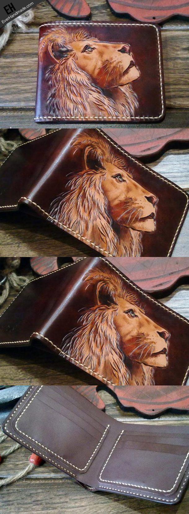 Handmade short leather wallet men lion carved leather short wallet for | EverHandmade
