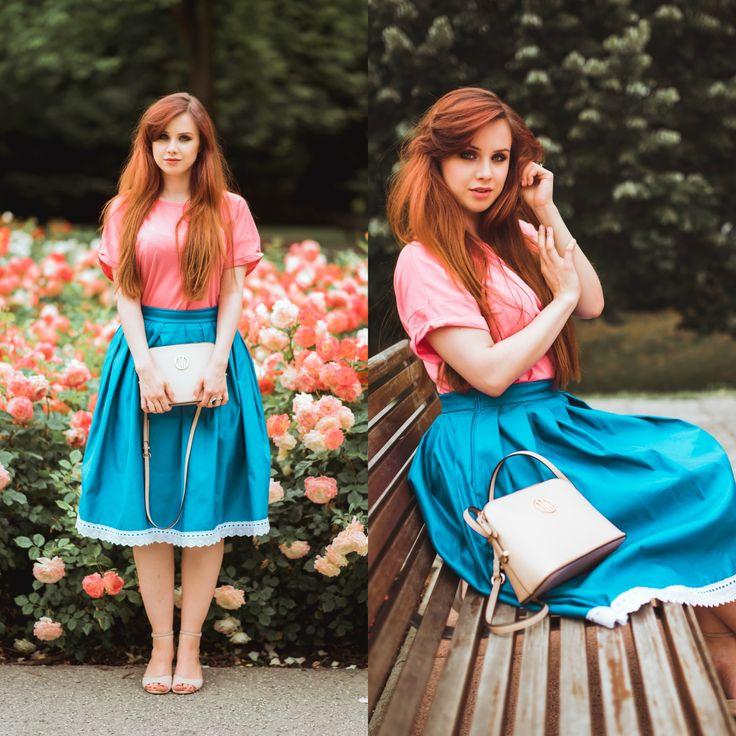 Pink AVON shirt, blue folk hand made a line skirt, romantic outfit, long hair. Curvy blogger