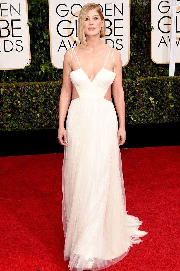 Rosamund Pike 2015 Golden Globe Awards Sexy Halter Open Back Dress - TheCelebrityDresses