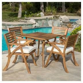 hermosa 5pc acacia wood patio dining set with cushions teak finish rh pinterest com