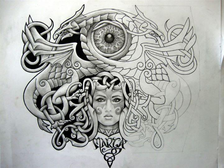 Celtic Dragon Eye Woman Tattoo Design Write Misneach