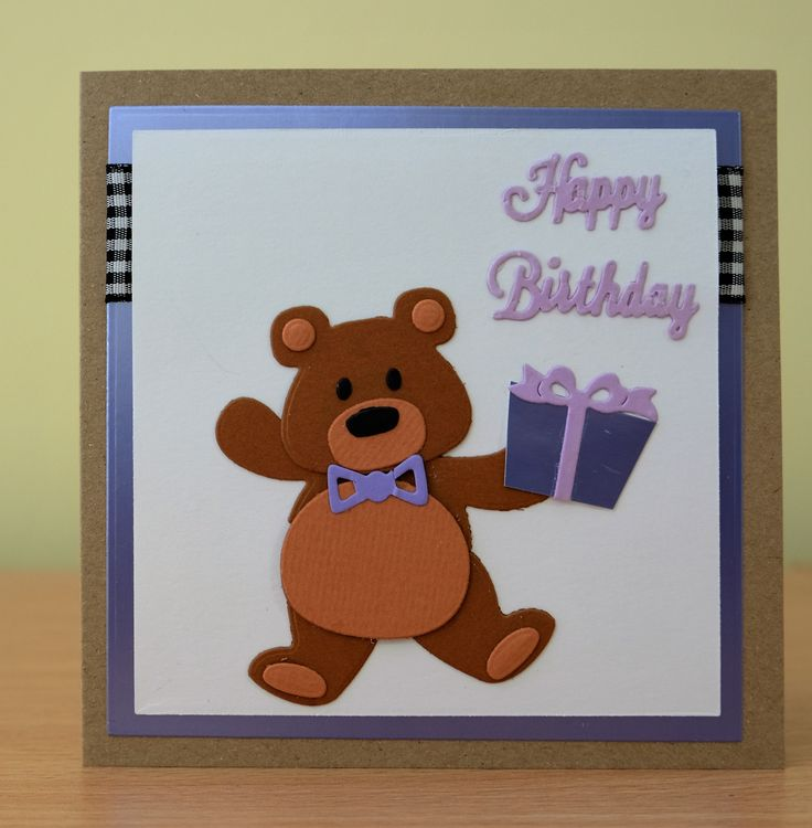 Handmade Birthday Card - Marianne Collectables Bear / Panda Die. To purchase my cards please visit the CraftyCardStudio on Etsy.com.