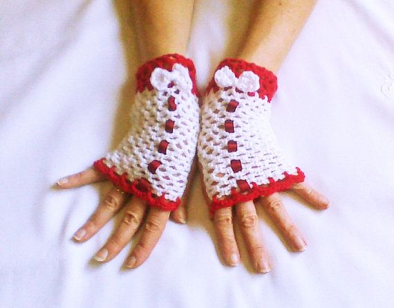 Hey, I found this really awesome Etsy listing at https://www.etsy.com/listing/172865329/red-white-crochet-fingerless-gloves