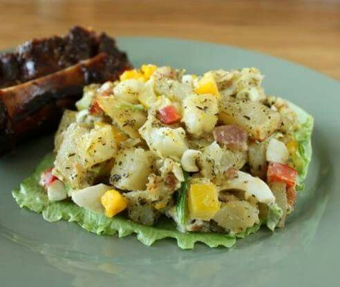 Baked Potato Salad   ( heart emoticon<3 ) ADD ME as a FRIEND or FOLLOW ME -->www.facebook.com/dawn.kardux  Click on the photo before sharing ? Hit Share To Save On your Wall! ?   INGREDIENTS Nutrition  SERVINGS 16-20 UNITS US  4 1⁄2 lbs potatoes, peeled and cut into 3/4 inch chunks  1⁄4 cup olive oil or 1⁄4 cup vegetable oil  2 envelopes Italian salad dressing mix  1 medium green pepper, chopped  1 medium sweet red pepper, chopped  1 bunch green onion, chopped  1 small onion, chopped  2…