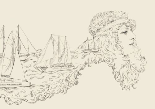 Illustration // art // drawing // girl // ships