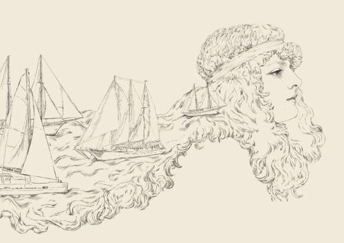 Illustration // art // drawing // girl // ships