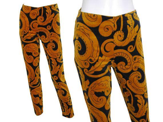 Gianni Versace vintage fluwelen broek legging van de jaren 1990 vintage broek broek handtekening barokke afdrukformaat 36 kleine