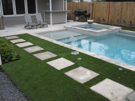 New Improved Artificial Turf Grass around a pool Ravenscourt Landscaping & Design LLC