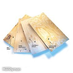 Understanding Plywood Grades: We take the mystery out of the plywood grading system and show you what you will get in each grade. The higher the grade the better quality you should expect. Read more: http://www.familyhandyman.com/woodworking/understanding-plywood-grades/view-all