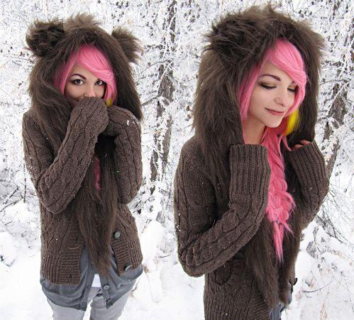 furry!!: Fur Coats, Sweaters, Bright Pink, Bears Hoodie, Pink Hairs, Dyes Hairs, Brown Bears, Cute Jackets, Bearhoodi
