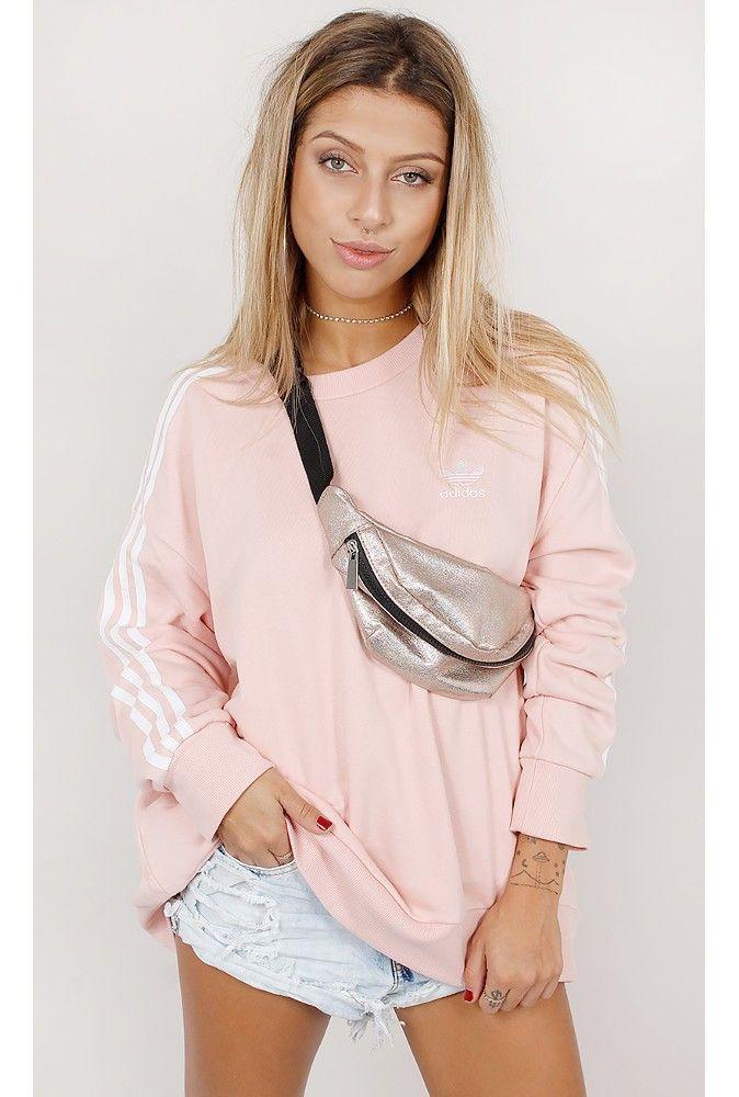 Blusa Adidas Moletom A Line 3 Stripes Rosa - fashioncloset-mobile
