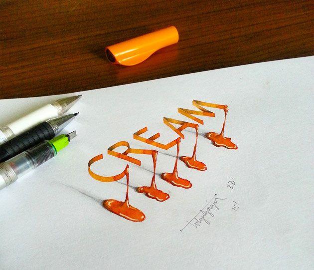 文字が立体的に浮かびあがる3Dドローイングアート「3D Lettering」