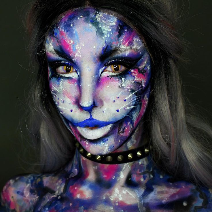 "2,662 Likes, 28 Comments - Ellie H-M (@ellie35x) on Instagram: ""Galaxy Cat Base: @mehronmakeup Paradise Paints. @nyxcosmetics_uk Vivid Brights Cream in Lilac,…"""