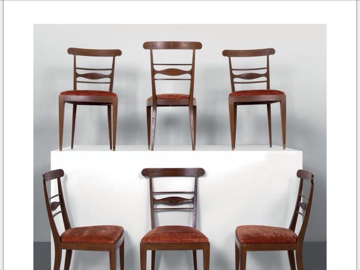 PAOLO BUFFA Sei sedie, esecuzione LIETTI, Cantù, anni '50. Legno di palissandro, sedute imbottite rivestite in velluto. Altezza cm 90, larghezza 49, profondità 45.