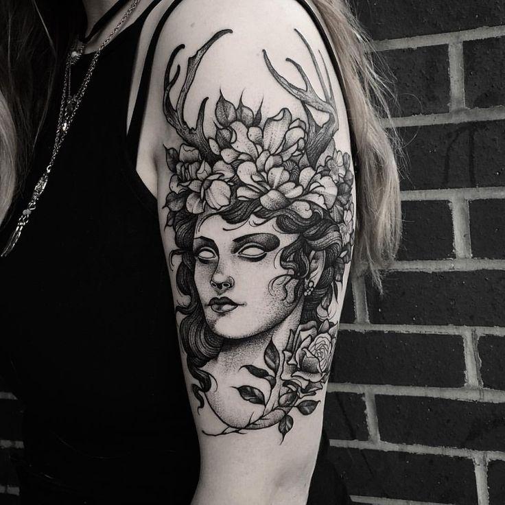 Goddess of the hunt. Thanks Jess! Done at @sbldnttt #tattoo #etching #fineline #blackwork #dotwork #blackandgrey #nature #woodcut #goddess #floral #mythology #tttism
