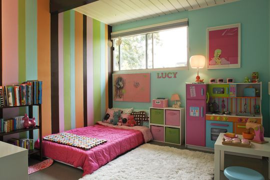 Montessori Bedroom Girls Room Pinterest Low Beds Bedroom Furniture And Striped Walls