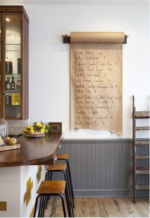 Great method of leaving messages, shopping lists or the odd piece of instant art whilst still in keeping the country, industrial or rustic theme in the kitchen.