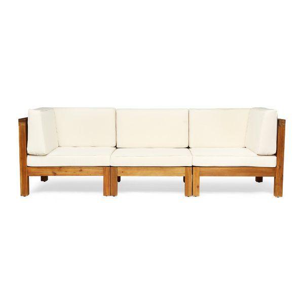 Seaham Patio Sofa With Cushions Allmodern Patio Sofa Wood Sofa Outdoor Sofa Sets