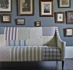 Patchwork sofa using Kensington range from Linwood fabrics