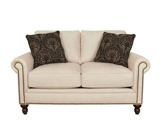 If you are looking for a sophisticated loveseat without sacrificing comfort, then the Telisa is the one you want.  It's turned, dark wood leg, nail head detail along the arm panel and set of 2 toss pillows makes this sofa a head turner.