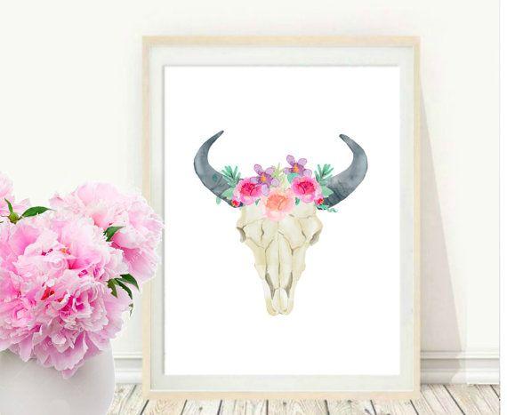 Cow+Skull+Printable+Art+Bull+skull+Tribal+Art+by+PaperStormPrints