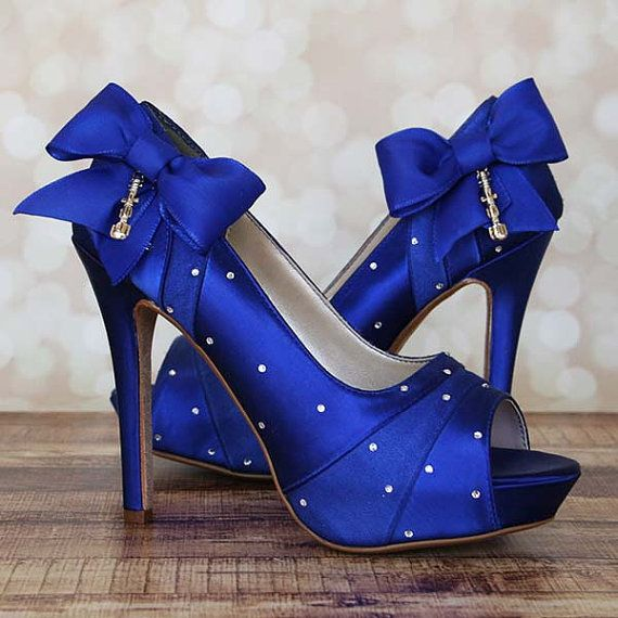 Wedding Shoes -- Royal Blue Platform Peep Toe Dr Who Themed Wedding Shoes