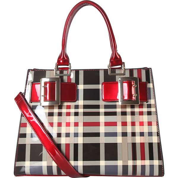 Diophy Double Buckle Large Structured Plaid Pattern Tote - Red - Totes ($60) ❤ liked on Polyvore featuring bags, handbags, tote bags, red, red plaid handbag, handbags totes, zip top tote, plaid tote bag and tote handbags
