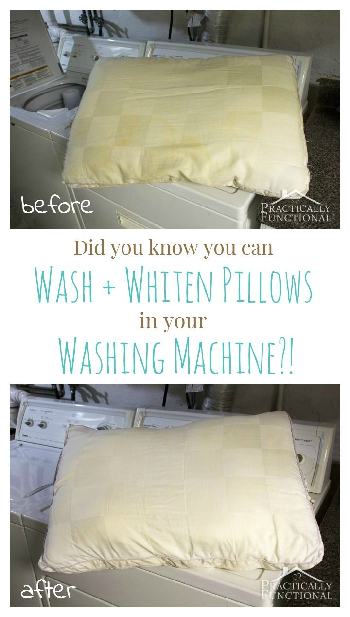 Did you know you can wash & whiten pillows in your washing machine?! This tutorial shows you how to wash pillows in the washer, and they come out bright white like they're brand new again! Works for pillow covers too!