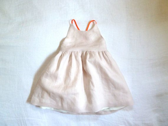 blush linen with white linen lining and neon straps