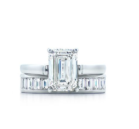 Tiffany Emerald cut diamond engagement ring with vertical baguette diamond band wedding ring