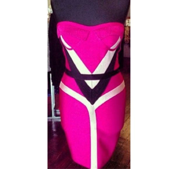 Hot pink bandage dress Size s/m Dresses Strapless