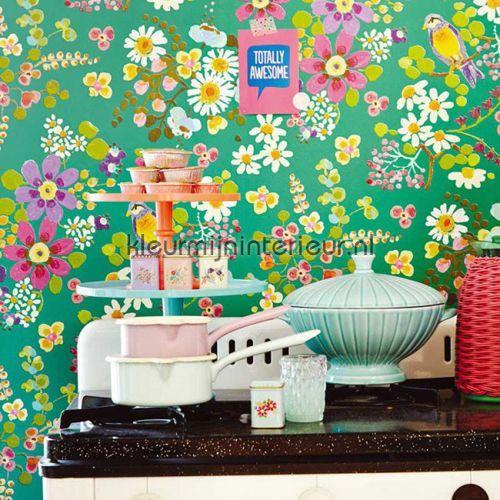 Vogels met gouden achtergrond 359071 | behang Rice van Eijffinger | kleurmijninterieur.nl