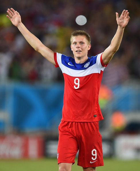 Aron Johannsson of the United States celebrates after defeating Ghana 2-1 during the 2014 FIFA World Cup Brazil Group G match between Ghana and the United States at Estadio das Dunas on June 16, 2014 in Natal, Brazil.