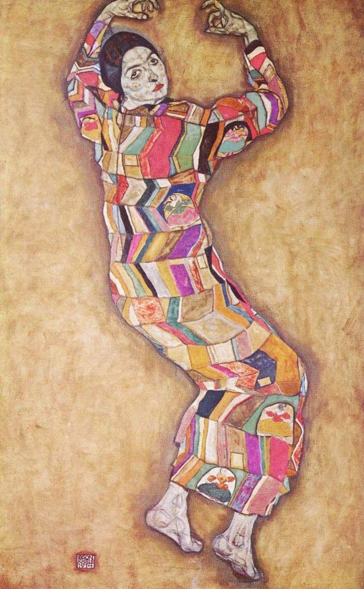 """peinture autrichienne : Egon Schiele, femme, """"Friederike Maria Beer"""", 1914, chevrons"""