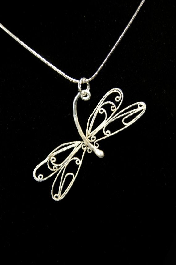 Beautiful delicate fligree dragonfly pendant by HeartsOfWire, $125.00