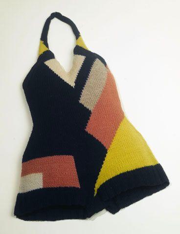 "Sonia Delaunay, Bathing suit, ca. 1928, Musée de la Mode de la Ville de Paris, in ""Color Moves: The Art and Fashion of Sonia Delaunay,"" 2011, at the Cooper-Hewitt, National Design Museum"
