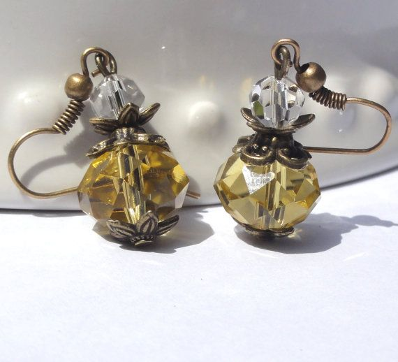 Earrings.Yellow Crystal Earrings.Bridesmaid by StunningGemsJewelry