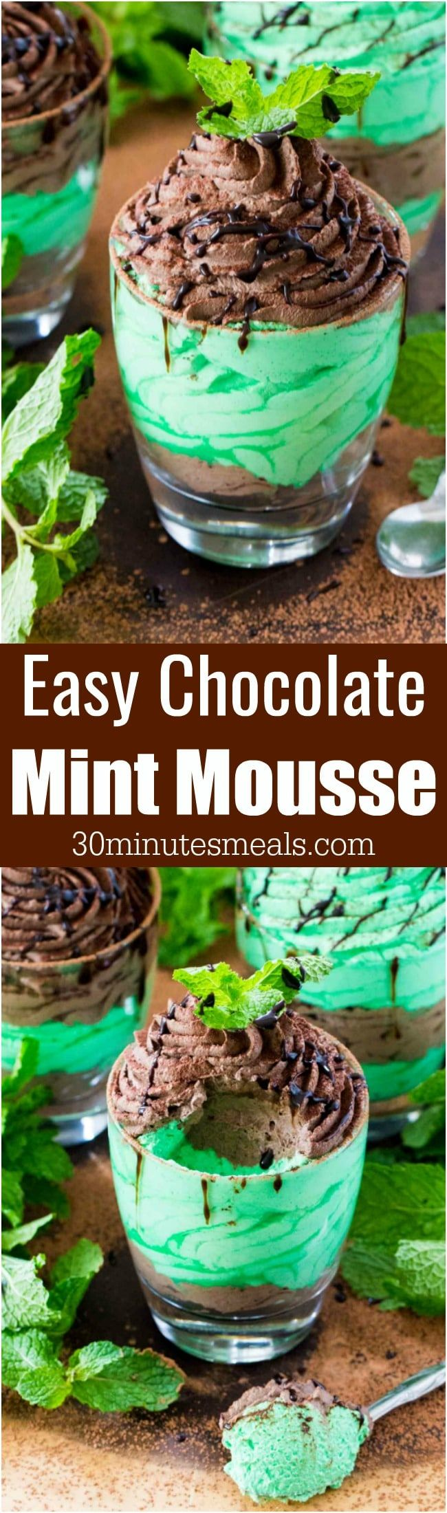 Easy Chocolate Mint Mousse made with just a few ingredients is a flavorful and creamy take on the classic, more labor intensive mousse. #nobake #mousse #chocolate #mint