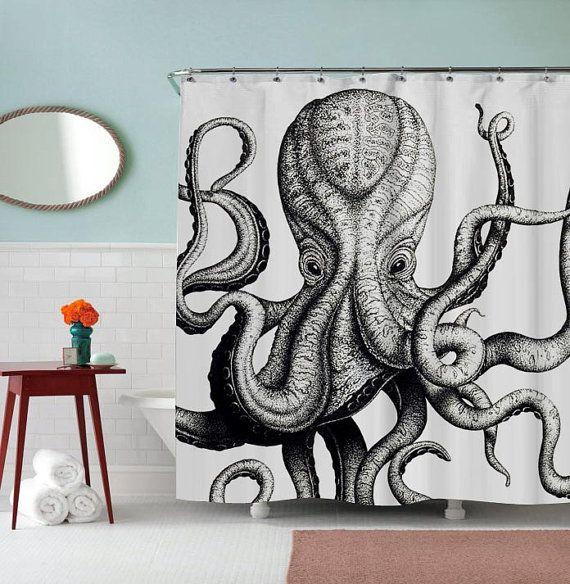 AJSC004 Rideau de douche inspiré pour le poulpe